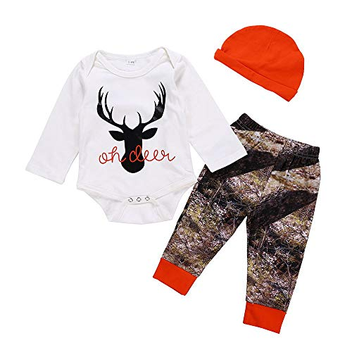 NEARTIME Infant Baby Christmas Outfits Unisex Letter Deer Romper Bodysuit Plaid Pants with Hat 3Pcs Xmas Sets ()