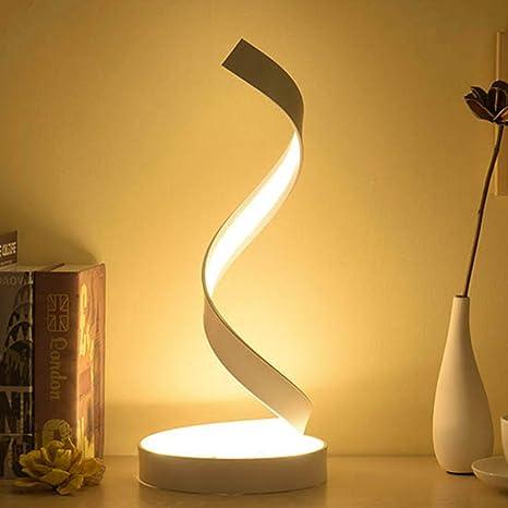 Lámpara de mesa LED en espiral regulable, luz de noche ...