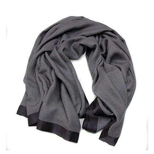 100% Cashmere Travel Blanket with Silk Border Lining, Cashmere Travel Throw/Blanket, Luxury Winter Cashmere Throw 26/2 Yarn Composition, Dark Grey Travel Throw by Moksha Cashmere