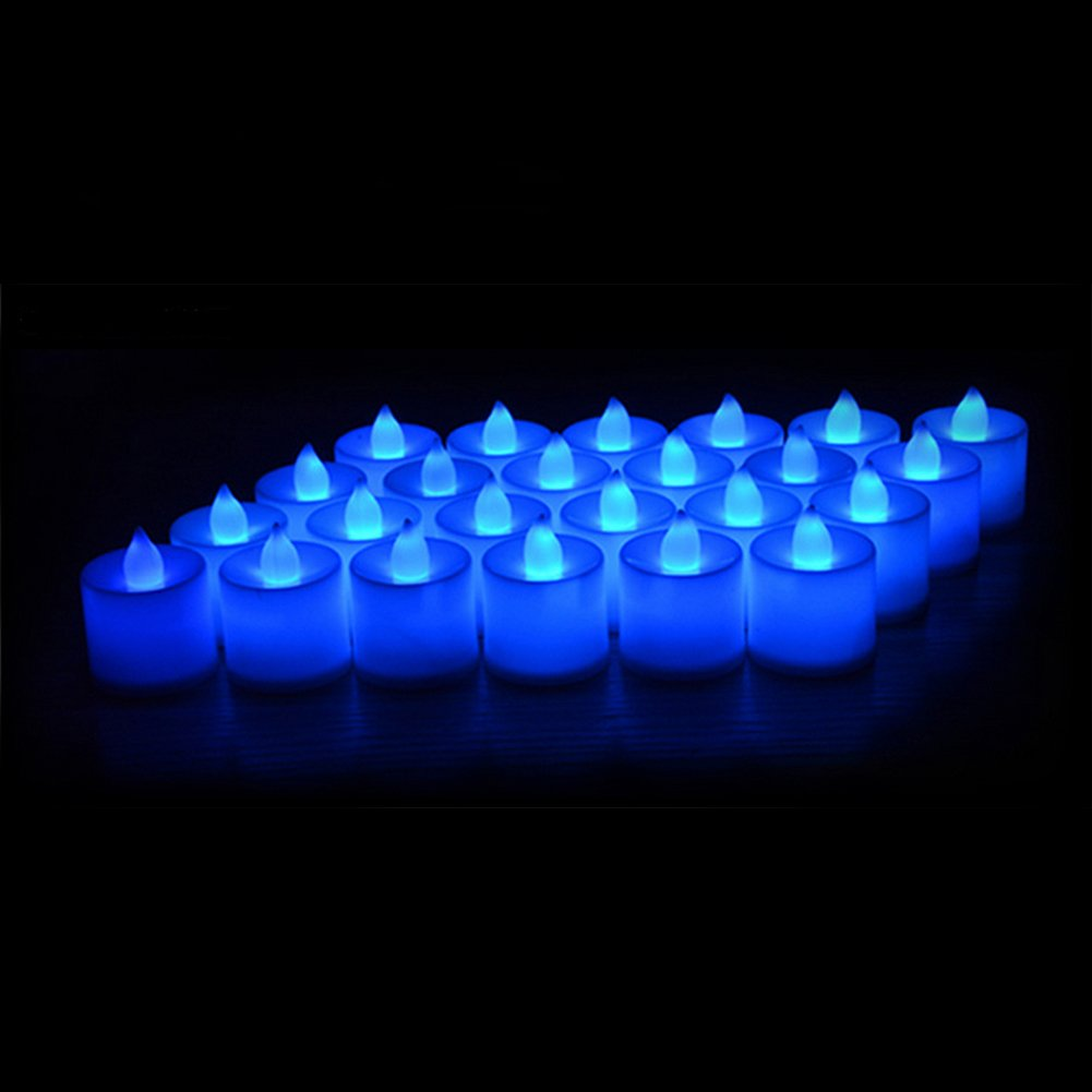 24 Pack LED Tea lights Candles – Flickering Flameless Tealight Candle – Battery Operated Electronic Fake Candles – Decoration for Wedding, Party, Dating and Festival Celebration (Blue) by LANKER (Image #2)
