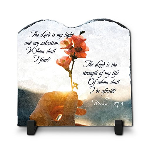 InspiraGifts The Lord is My Light and My Salvation Psalm 27:1((7.8X7.8) | Superior Religious Inspirational Home Décor Polished Slate Christian Home Plaque Gift