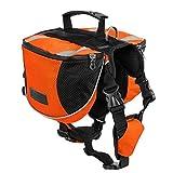 Lifeunion Polyester Dog Saddlebags Pack Hound Travel Camping Hiking Backpack Saddle Bag for Small Medium Large Dogs(Orange,L)