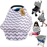 iZiv Ultrasoft 4-in-1 Multi-use Baby Stretchy Cover Car Seat Canopy/Nursing Cover/Shopping Cart Cover/Infinity Scarf Perfect Gift for Baby (Color-1)