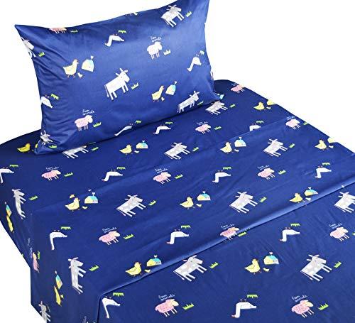 - Cute Farm Cow Duck Hen Chick Animals Cotton Cozy Twin Bed Sheet Set, Flat Sheet & Fitted Sheet & Pillowcase Natural Bedding Set (8, Twin)