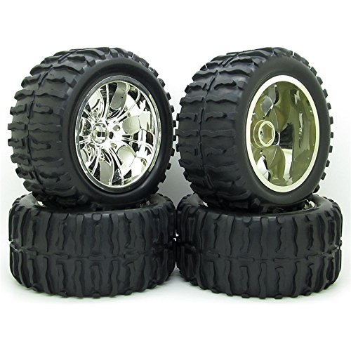 4x DIY 1/10 RC Rubber Tires Tyre Wheel Rim Monster Bigfoot Truck For Remote Control Toys Parts Silver ()