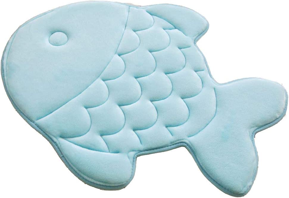 Amazon Com Haplove Slow Rebound Memory Foam Children Bath Rug Fish Slip Resistant Coral Fleece Mat Doormat Carpet Children Home Christmas Birthday Gift 15 X 47 Inch Blue Kitchen Dining
