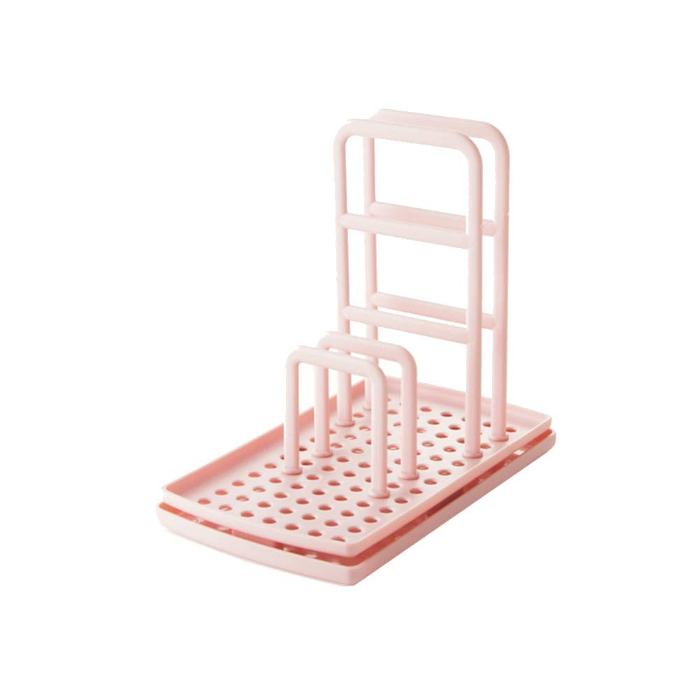 Kobay Dish Cloths Drain Rack Clean Sponge Holder Rag Storage Rack Kitchen Shelf (Pink)
