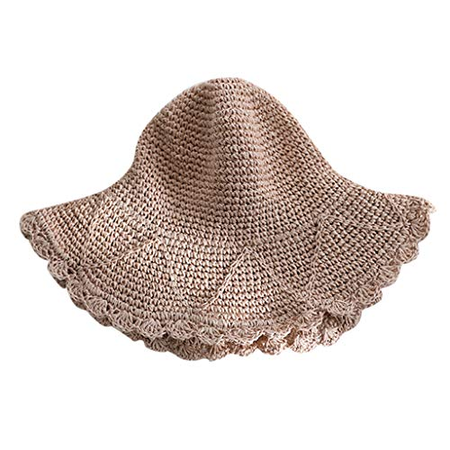 HYIRI Shade Ladies Women Casual Wide Brimmed Straw Beach Hat Parent-Child Outing Hat Pink ()