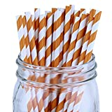 Just Artifacts - Decorative Paper Straws 100pcs - Striped Pattern - Orange - Click For More Colors! Paper Straws and Décor for Birthdays, Weddings, Baby Showers and Life Celebrations!