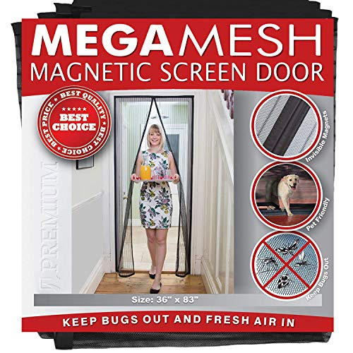 Magnetic Screen Door - Heavy Duty Reinforced Mesh & Full Frame Hook & Loop ACTUAL SCREEN SIZE...