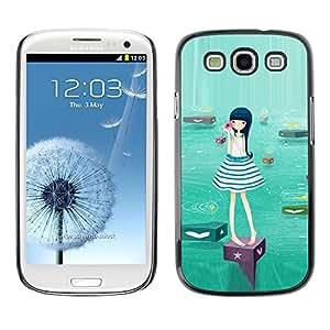 TopCaseStore / la caja del caucho duro de la cubierta de protección de la piel - Cute Water Girl - Samsung Galaxy S3 I9300
