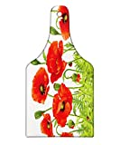 Lunarable Ladybugs Cutting Board, Horizontal Border with Red Poppy Flower Bud Poppies Chamomile Wildflowers Lawn, Decorative Tempered Glass Cutting and Serving Board, Wine Bottle Shape, Red Green