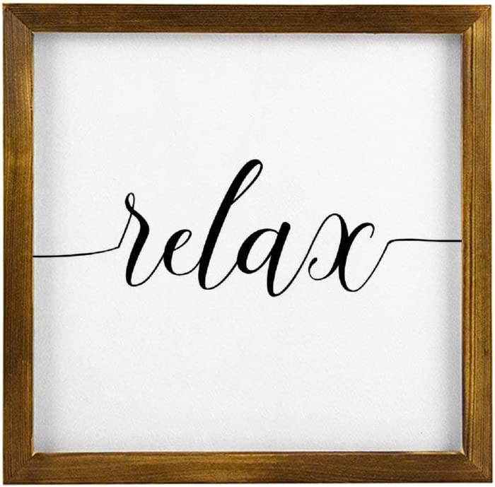 Generic Brands Wood Framed Sign Wooden Signs Relax Soak Unwind Rusti Wall Decor Signs with Inspirational Quotes Rustic Wood Framed Modern Farmhouse Wall Hanging Art 12x12 inch