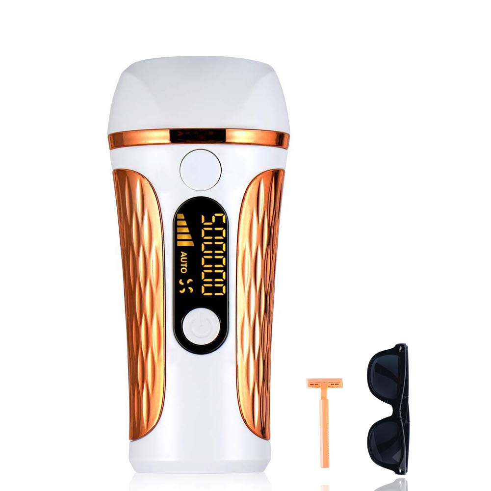Facial & Body Permanent Laser Hair Removal for Women, 500,000 Flashes IPL Hair Remover System with Display Screen(Golden)
