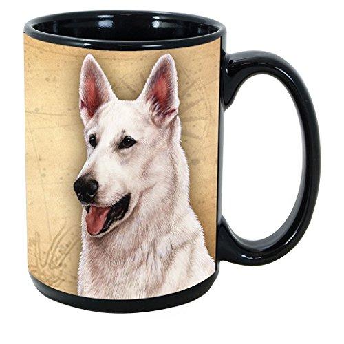 (Imprints Plus Dog Breeds (E-P) German Shepherd White 15-oz Coffee Mug Bundle with Non-Negotiable K-Nine Cash (german shepherd white 081))