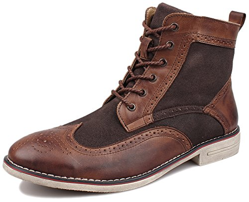 Kunsto Men's Leather Distressed Two Tone Boot US Size 8 Brown