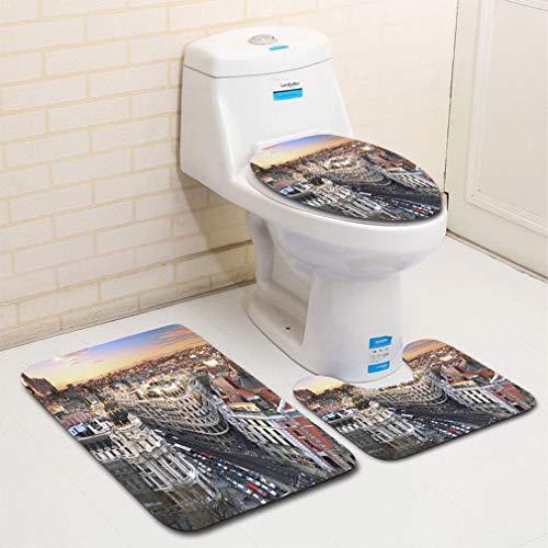 MTSJTliangwan Home Bathroom 3 Piece Sets, Included Bath Area Rug+Contour Mat+Lid Toilet Seat Cover Madrid Skyline at Sunset Flannel Carpet ()