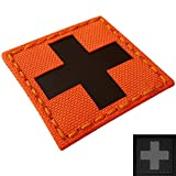 Tactical Freaky Red Cross IR Fluorescent Orange Infrared MED Medical EMS EMT USAR Search and Rescue Touch Fastener Patch