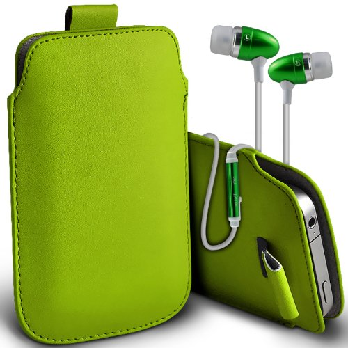 Price comparison product image ( Green + Earphone ) Huawei Ascend Y550 Protective Faux Leather Pull Tab Pouch Skin Case Cover With Protective in Ear Buds Stereo Hands Free Headphones Headset with Built in Microphone Mic and On-Off Button by Aventus