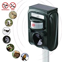 KINGSTAR Waterproof Ultrasonic Animal Pet Repeller, Outdoor Solar Powered Repel Dog Cat Pets Birds Raccoons Deer Repellent Electronic Rechargeable Battery Operated Scarer protect Garden Yard Lawn Farm (upgrade)