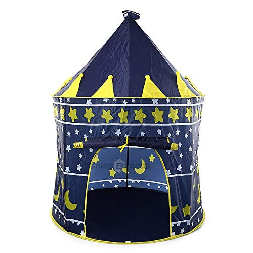 XuBa 3 Colors Kids Toy Tents Children Folding Play House Portable Outdoor Indoor Toy Tent Princess Prince Castle Cubby Playhut Gifts Deep Blue