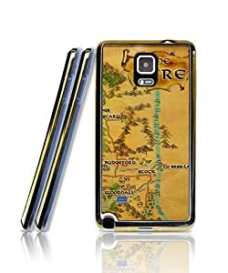 Samsung Galaxy Note 4 Funda Case, The Lord Of The Rings Middle Earth Map - Film Soft TPU [Golden - Bordered] Two in One Tiny & Cute Scratch-Proof Shell Protective Skin Funda Case