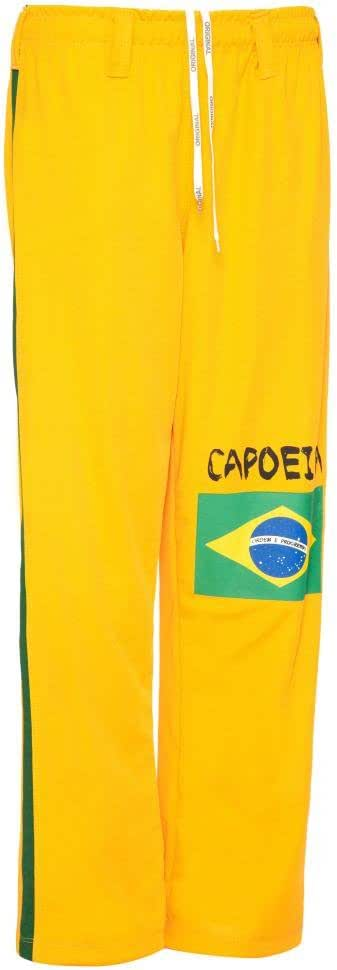 Amarillo con La Bandera De Brasil JL Sport Pantalones Aut/énticos Brasile/ños Capoeira Artes Marciales Hombres