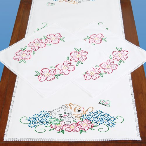 Jack Dempsey Stamped Dresser Scarf and Doilies Lace Edge,...