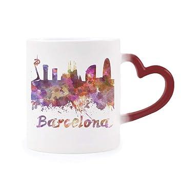 DIYthinker Barcelona, España Ciudad Acuarela Morphing de Calor de la Taza Copa Sensible Corazón Rojo: Amazon.es: Hogar