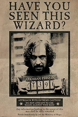 HARRY POTTER - Póster con Texto en inglés «Wanted Sirius Black» («Se Busca a Sirius Black»), tamaño Grande, Multicolor