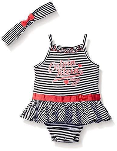 Calvin Klein Baby Girls Striped Sun Suit with Headband (0/3M)