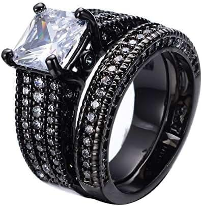 Bamos Jewelry Girls White Rectangular Diamonds Black Gold Wedding Double Rings Set Size 8