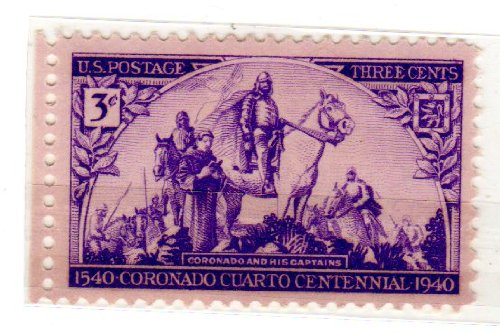 Coronado Single (Postage Stamps United States. One Single 3 Cents Violet, Coronado and His Captains, Painted By Gerald Cassidy, Coronado Expedition Issue, Stamp Dated 1940, Scott #898.)