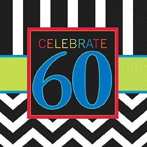 Amscan Must-Have Chevron and Stripes 60th Birthday Party Beverage Napkins Tableware, Pack of 16, Multi, 5