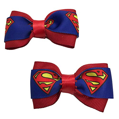 Handmade Superman Girls Hair Bow Set, Little Girl Bows, Pigtail Hair Bows, Toddler Hair Bows,