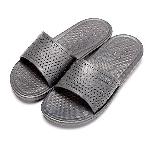 ITAZERO - Sandalias de Ducha para Hombre, cómodas, para Playa, Piscina, Verano, Antideslizantes, Unisex, Gris, 12 M US