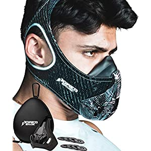 Training Mask Workout Resistance Breathing Trainer [16 Levels] Reflective with Air Filters, Bonus Case & Cover Boost…