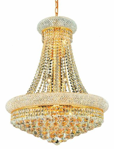(Elegant Lighting 1800D24G/SS Primo Collection 14-Light Hanging Fixture Swarovski Strass/Elements Crystals with Gold Finish)