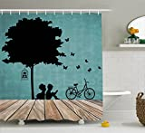 Ambesonne Kids Shower Curtain, Boy and Girl Children Reading Under a Tree with a Bird Cage and Bicycle, Cloth Fabric Bathroom Decor Set with Hooks, 70 Inches, Pale Brown Black Seafoam