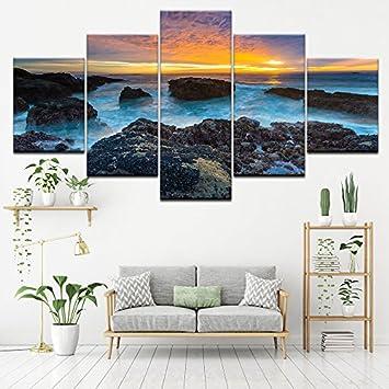 PAINTING Gerahmte Poster Einrichtung Wohnzimmer Frames 5 Stück blau ...