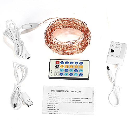 remote control led string lights 49ft 150 leds grde dimmable import it all. Black Bedroom Furniture Sets. Home Design Ideas