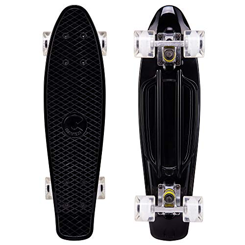(Cal 7 Complete Mini Cruiser | 22 Inch Micro Board | Vintage Skateboard for School and Travel (Onyx) )