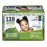 Seventh Generation Baby Wipes Refills, Free and Clear, 128-Count