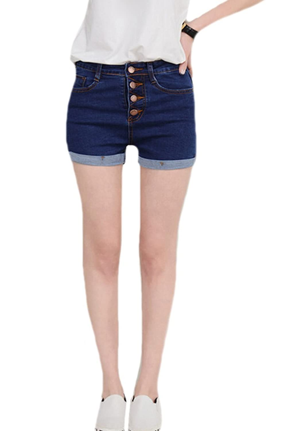 YUNY Womens High Rise Crimping Button Jeans Blue Shorts