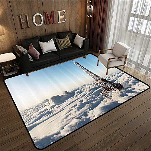 - Floor mat,Eiffel Tower Decor Collection,Eiffel Tower Above The Clouds Sunlight Historic Monument Buildings Creative Image,Blue Bro 55