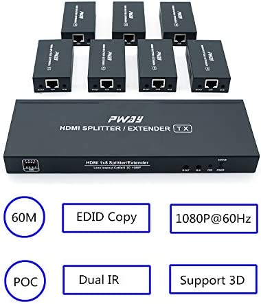 Pw Hts0107ir Poc 1x7 Port Hdmi Splitter Extender Verteiler Ultra Hd 1080p Ohne Verzögerung 60m über Cat6 Kable Unterstützt Edid And Ir 1 In 7 Out Elektronik