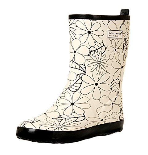 Women White Mid Print Women's Insun Rain Calf Boots for Off xP0pwz7