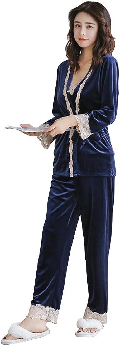 OULII Mujeres Pijamas de Terciopelo de Tres Piezas Ropa de Dormir de Invierno Franela camisón Conjunto tamaño M (Azul)