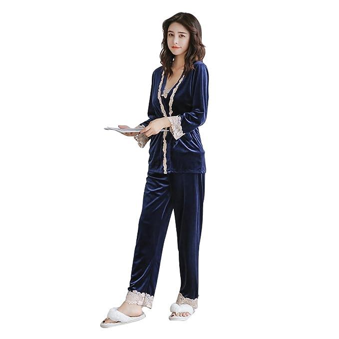 OULII Mujeres pijamas de terciopelo de tres piezas ropa de dormir de invierno franela camisón conjunto