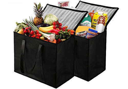2 Pack Insulated Reusable Grocery Bag, Extra Large Size, Stands Upright, Collapsible, Sturdy Zipper Large Grocery Tote